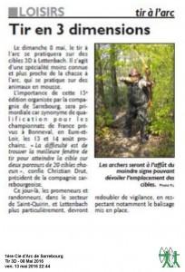 RL du 05-05-2016 Concours 3D à Sarrebourg ce dimanche