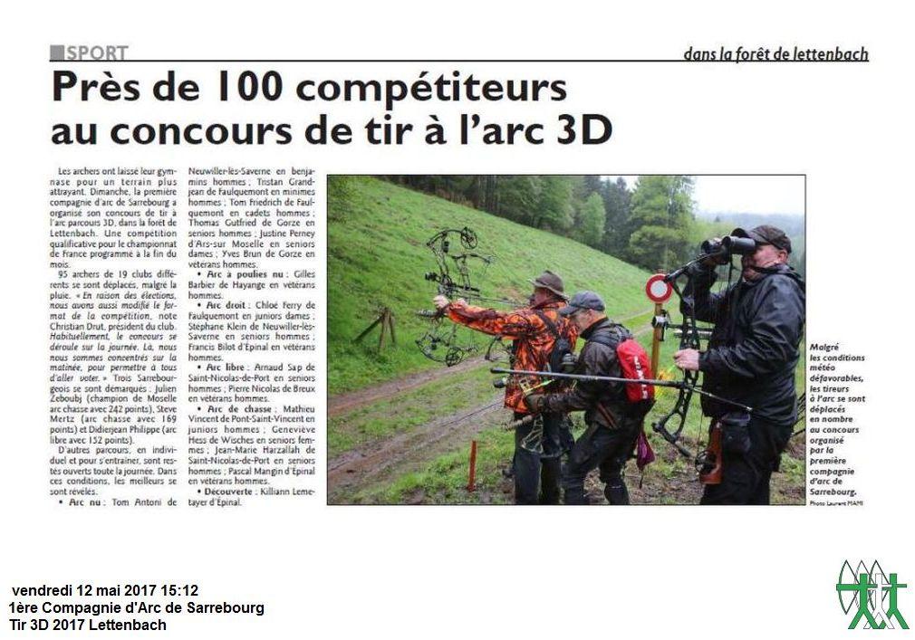 RL du 11-05-2017 Résultats Tir 3D de Sarrebourg