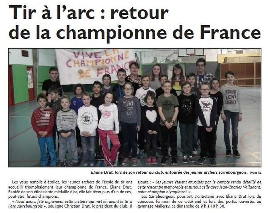 RL du 18-03-2017 Eliane Drut et les jeunes archers du Club de Sarrebourg