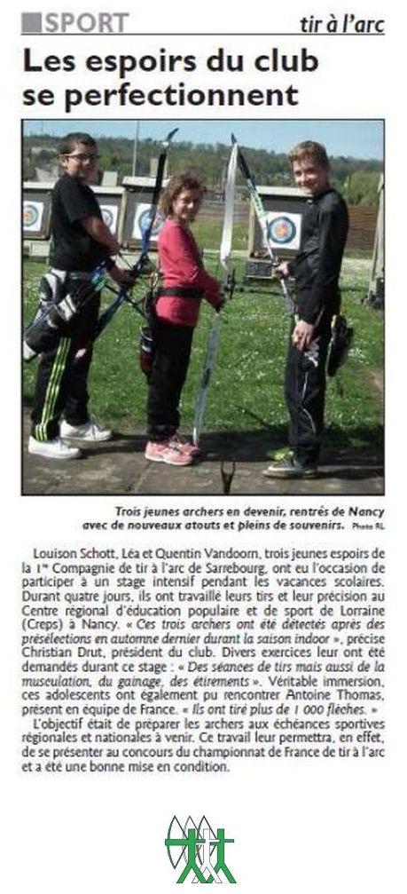 RL du 26-04-2017 Trois jeunes archers du Club de Sarrebourg au Stage de Printemps